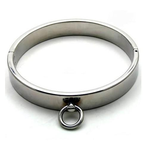 Wholesale -Male Luxury Stainless Steel Heavy Duty Collar / Thick Iron Locking Collar Mirror Polished