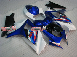 Kit de carenagem k7 gsxr on-line-Kit de Carenagem ABS Branco Azul para GSX-R1000 2007 2008 K7 GSXR 1000 GSXR1000 07 08 carroçaria + Pára-brisas