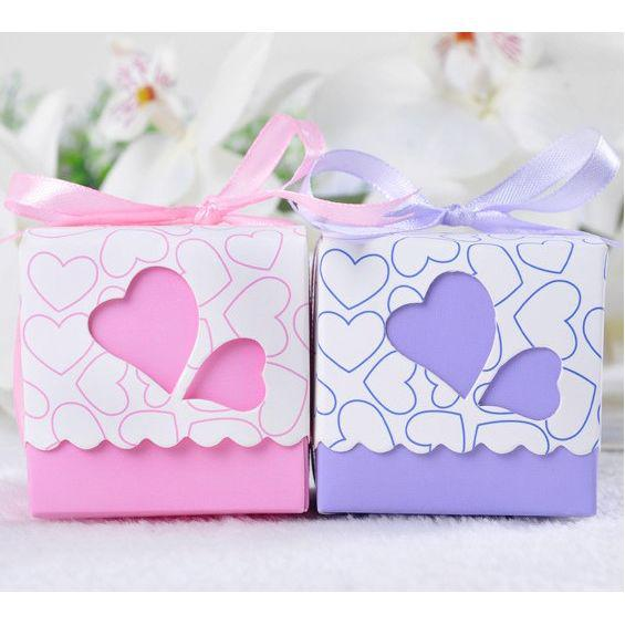 Heart Shaped Wedding Favor Boxes Party Candy Holder PinkAmp