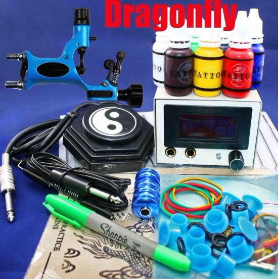 Blue Dragonfly Rotary Tattoo Gun Kits 50 Needles 8 Steel Tips LED Power Supply For Tattoo Artists