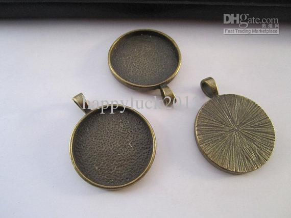 Antique Bronze Plated Cabochon Wisiorek Base 30mm 20 sztuk / partia
