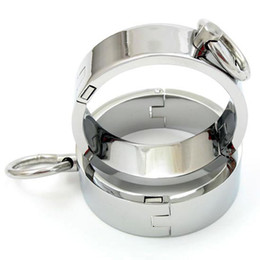 bdsm locking cuffs UK - Unisex Chrome-plated Steel Restraints Rings 2 Pieces with Magnet Locking Pins (L Size) bdsm