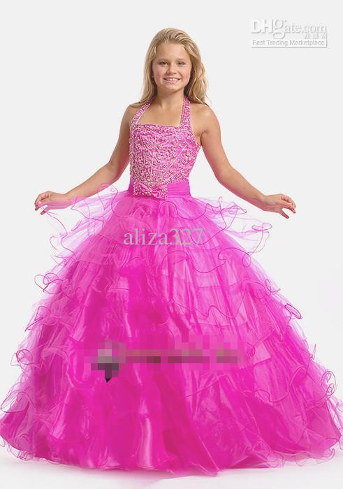 美しい花の子供服ぶら下がっている首のクリスタルビーズの誕生日のドレスの長さ子供服のカスタマイズの地面