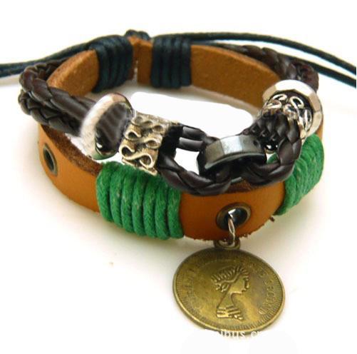 50 stks / partij mode hennep lederen gevlochten armband polsband cool met munt gratis verzending