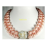 Wholesale Double Stranded Pearl Necklace - New fine pearl jewelry Double strands 8-9mm south sea gold pink pearl necklace 17&18inches