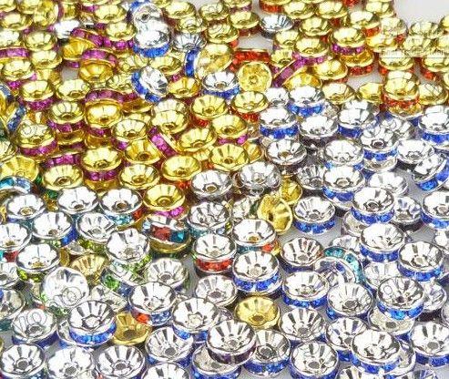 Best-seller 1000 pc Esferas De Basquete Brincos de Argola De Cristal Rondelle Strass Beads 8mm