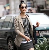 haki blazerler toptan satış-Yeni Kore Stil Bayan moda Bir Düğme Blazer Suit Yaka Ince Ceket Dış Giyim Coat Haki / Siyah