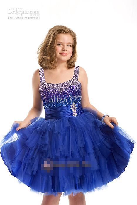 ファッショナブルな花の子供たちはスパゲッティストラップのクリスタルビーズショートパラグラフの誕生日ドレス花子供の服カスタマイザット