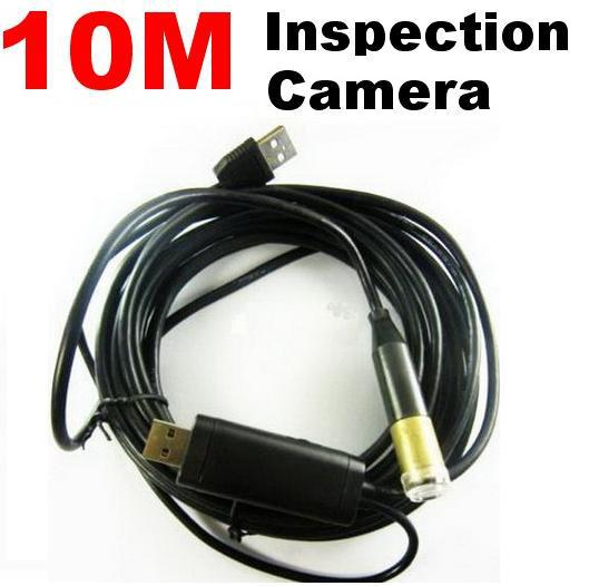 best selling 10m USB Cable Waterproof Drain Pipe Plumb Inspection Snake LED Colour Camera free shipping