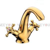 Wholesale Titanium Gold Plated Faucet - barhroom faucet brass basin mixer Titanium gold plate NY04513