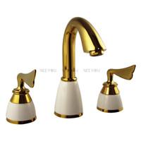 Wholesale Titanium Gold Plated Faucet - 3 pcs Basin faucet brass with ceramic bathroom mixer Titanium gold plate Sink tap NY04519