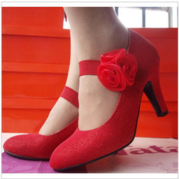 Wholesale Women Satin Cheongsam - 2016 new bride wedding shoes women cheongsam high-heeled lady Party shoes with flower red gold 961-5