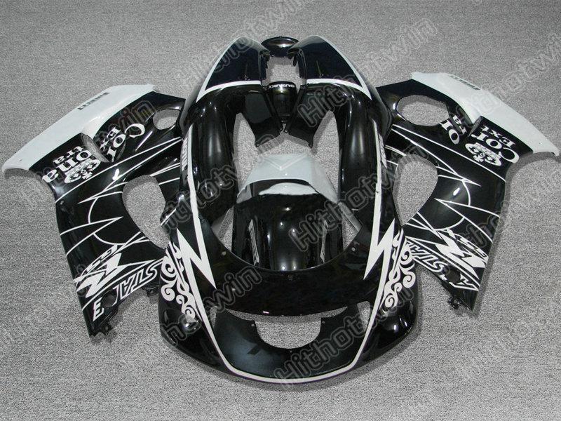 スズキ1996-2000 GSXR600 GSXR750 GSXR 600 750 GSX-R600 R750 96 97 98 99 00ブラックホワイトフェアリングキット+ギフト