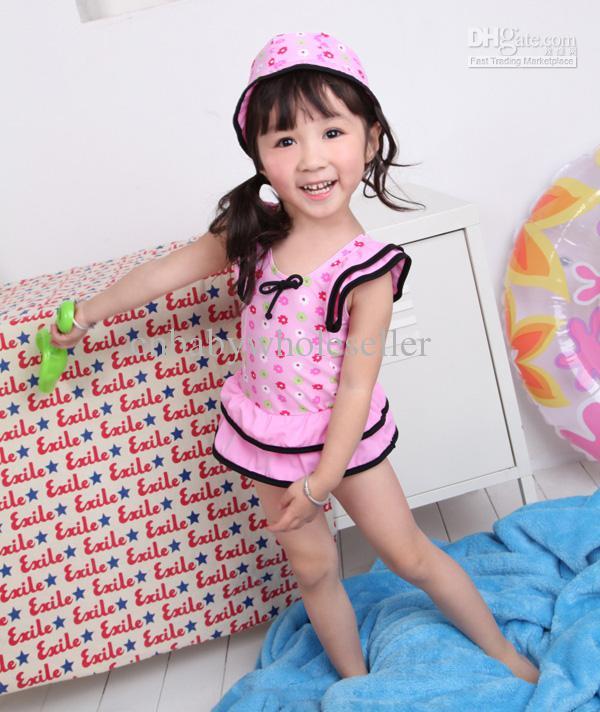 2018 2012 Baby Girl Pink Swimsuits Hat One Piece Swimwear