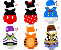 Wholesale Baby Tiger Outfit - Cute 2-piece outfit Baby Girl Tiger Ladybird Bodysuit hat set MONRIL ZOO School Print Rompers NWN