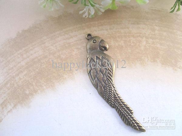 Antique bronze parrot pendant charm 15mmx55mm 40pcs/lot