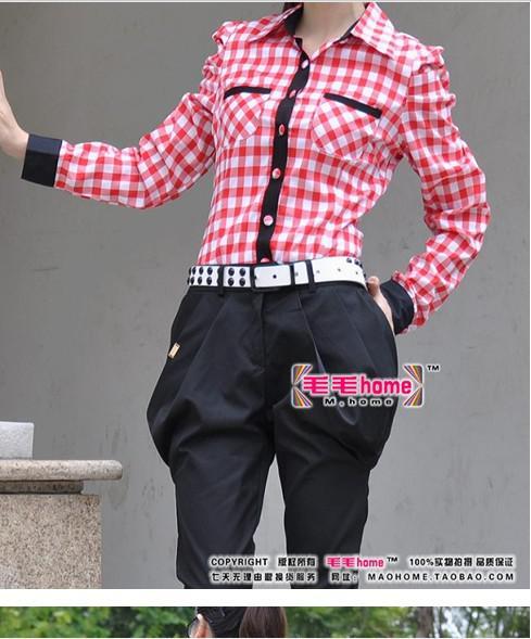 New Design Women Ladies Girls Plaid Shirt Leotard Fashion Lapel Bowknot Casual T-Shirts Jumpsuit