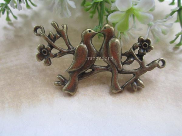 Antieke bronzen twee vogel met bloem hanger charme 24mmx48mm 20pcs / lot