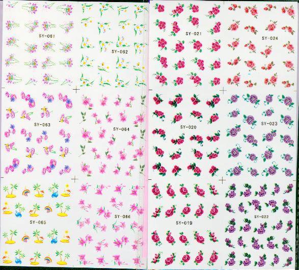 200 Pçs / lote Mix Etiqueta Da Arte Do Prego Decalque 6In1 Prego Remendo de Água Temporária Tatuagens Temporárias Adesivos 250 * 115