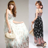 Wholesale Exotic Mermaid Dress - New Fashion Womens Bohemia Exotic Summer Printing Chiffon Casual Long Dress 2 Color Free Shipping Hot