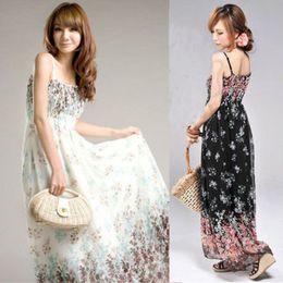 Wholesale Hot Spaghetti - New Fashion Womens Bohemia Exotic Summer Printing Chiffon Casual Long Dress 2 Color Free Shipping Hot