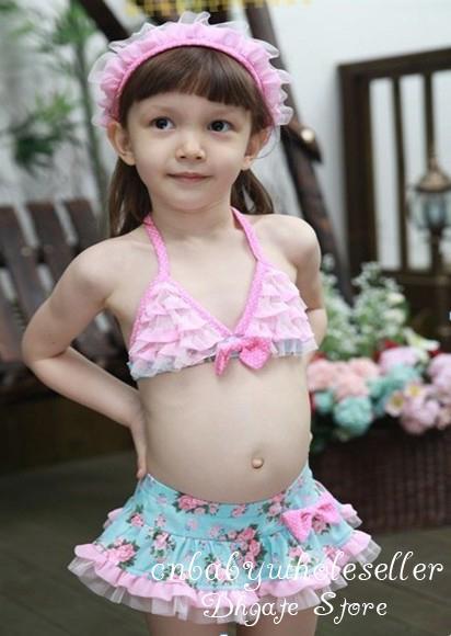 2018 Girls Pink Lace Hood Swimsuit Hat + Kids Swim Suit ...
