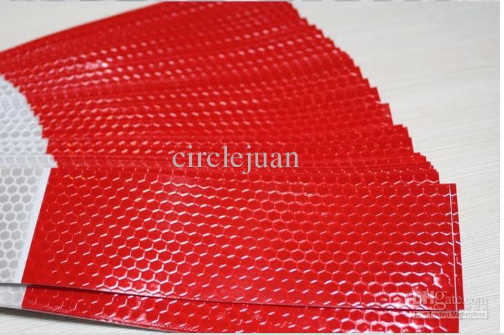 150 sztuk / partia Konssprzytuję Odbijający Klej Hazard Taśma ostrzegawcza Czerwony biały 30 * 5 cm