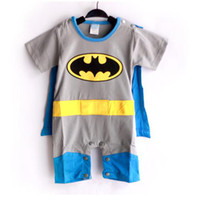 Wholesale Dress Colors Three - Free Shiping 4 sets lot 3 colors Baby Romper Superman Batman Baby Wear Baby Costume Baby Dress Smock