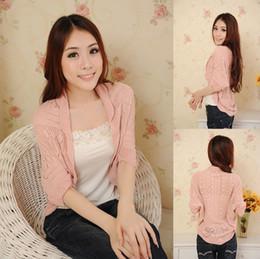 Wholesale Christmas Pink Cardigan - New Fashion Korea Women Hollow Sweater Shawl Shrug Jacket Knitwear Cardigan FREE SHOPPING#2725