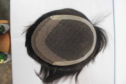 Wholesale Remy Hair Toupee - Wholesale-100% Indian remy human hair men toupee Swiss lace base free shipping hot sale