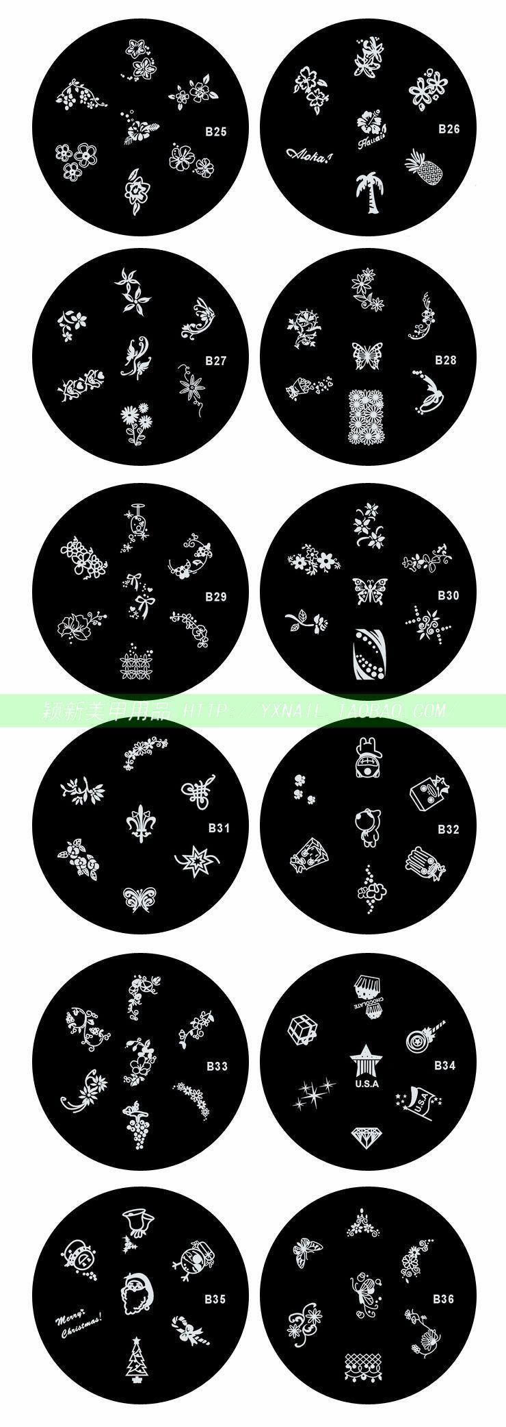 1000x de boa qualidade de aço inoxidável Nail Art Stamp Stamping placa de metal de impressão de imagem modelo de Design de 120 modelos