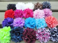 "Wholesale Silk Mini Flower Heads - Trial order 2"" Mini Petite Satin Mesh Silk Flowers Tulle Puff Flower Head 100pcs lot Queen Baby"
