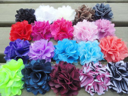 "Wholesale Silk Mini Flower Heads - Trial order 2"" Mini Petite Satin Mesh Silk Flowers Tulle Puff Flower Head 100pcs lot Queen Baby"
