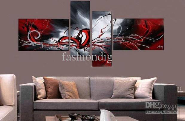 Rozciągnięty czerwony szary współczesny abstrakcyjny obraz olejny na płótnie grafika handmade home Office Dekoracji Wall Art Decor Prezent Bezpłatny statek