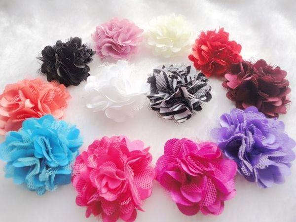 "Trial order 2"" Mini Petite Satin Mesh Silk Flowers Tulle Puff Hair Flower Clip 100pcs/lot"