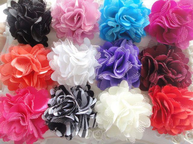 "Trial order 2"" Mini Petite Satin Mesh Silk Flowers Tulle Puff Hair Flower Clip"