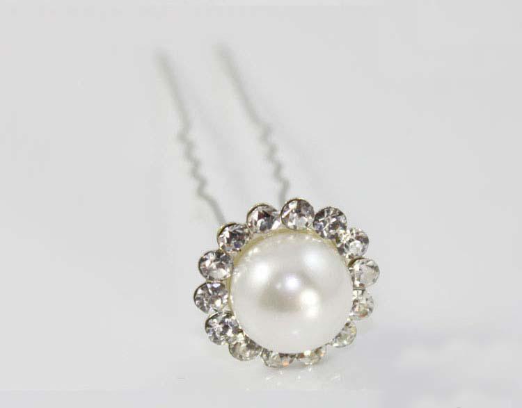 Mode Smycken Freeshipping Wedding Bridal Crystal Pearl Hair Pins Tillbehör