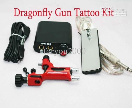 Tattoo Kits Red Dragonfly Rotary Machine Gun & MIN Power Supply Footswitch Clip Cord Tattoo Supply