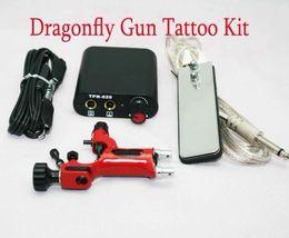 Wholesale Machine Gun Power Clip Cord - Tattoo Kits Red Dragonfly Rotary Machine Gun & MIN Power Supply Footswitch Clip Cord Tattoo Supply