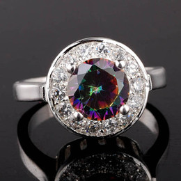 Wholesale Mystic Topaz Stones - Women's Silver Ring Fashion Jewelry Mystic Topaz Clear CZ Surrounded Party Rings Sizes & Colors Selectable R022
