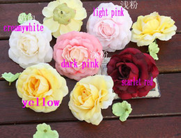 Discount diy silk rose brooch - 100 High Quality Artificial Simulation Silk Rose Camellia Peony Flower 7cm Diy Party Brooch Headwear