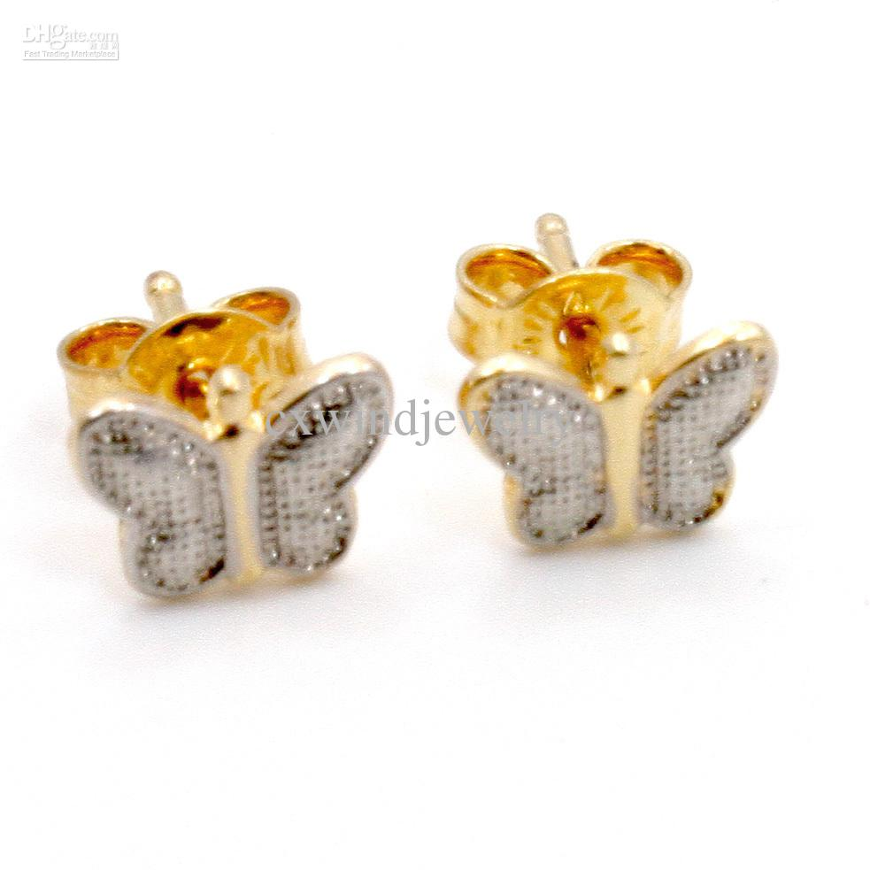 Gold 18k Gf Little Butterfly Earrings Girl Kids Baby Infants Two Tone