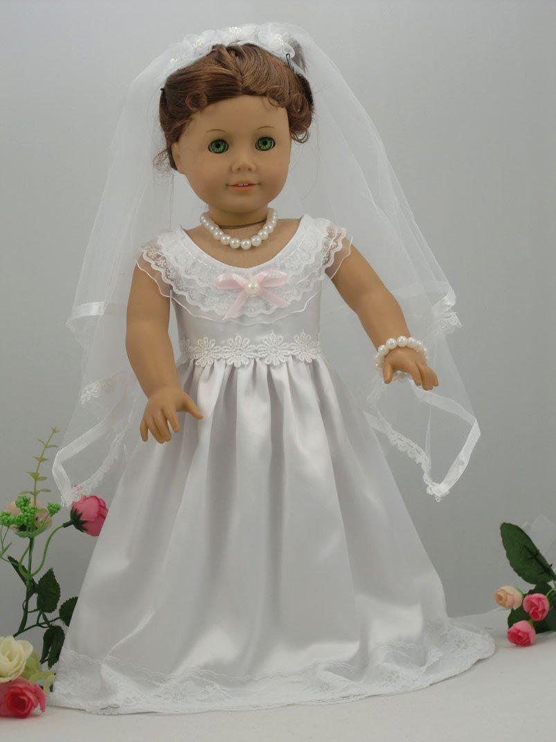 White Handmade American Girl Doll Wedding Dress Princess Dress Girl Doll Wedding Dress Doll Girl Wedding Dress Doll Princess Dressd Oll Online