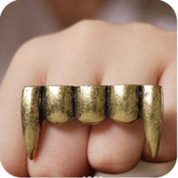 Wholesale Teeth Double Ring - Vintage Personality Zombie Vampire Teeth Double Fingers Rings Stylish Women's Stock 2 Color 30pcs