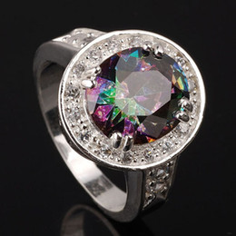 Wholesale Sizing Mystic Topaz Ring - Women's Cocktail Silver Ring Mystic Topaz Classical Style Holiday Gift for Wife Multiple Sizes & Colors for Choice R021