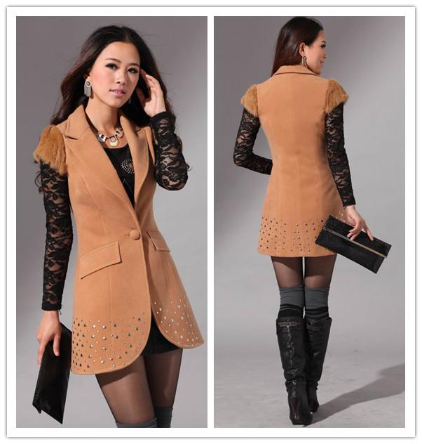 Women Wool Coat Vest Suit Collar Short Sleeve Coats Black Red ...