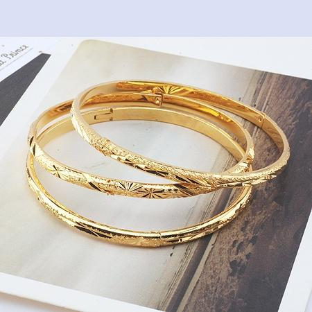 low price carved womens 18k yellow gold filled bracelet