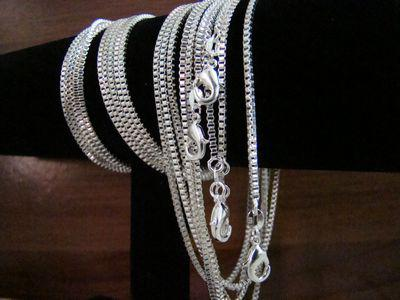 Fashion Best Concise Box Chains Necklaces Jewelry ,925 Silver 2mm 16inch~24inch Mixed Box Necklaces /Chains