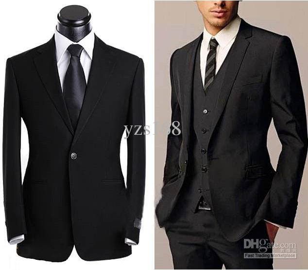 Slim Waist Black Groom Suit Jacket,Pants,Vest Set Yzs168 Man Wear ...