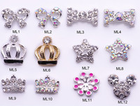 Wholesale Dangle Jewelry Nail Art - Nail Art Rhinestone100 pcs lot 350 optional Nail Tips Dangle Jewelry Nail Art Decoration 3d Nail Bows